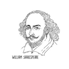 William Shakespeare line art portait Basic RGB