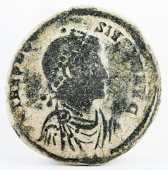 Ancient Roman copper coin of Theodosius. Obverse.