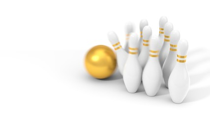 golden bowling ball and pins. 3d illustration