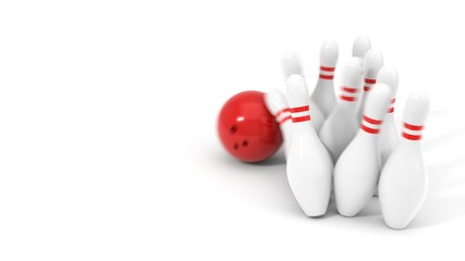 red bowling ball and pins. 3d illustration