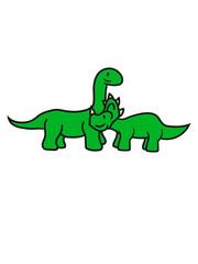 langhals 2 freunde team paar triceratops hörner süß niedlich klein kinder groß comic cartoon dinosaurier saurier dino