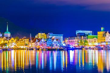 Night view of a port in the norwegian city Bergen.