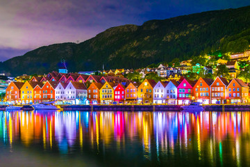 Night view of a historical wooden district Bryggen in the norwegian city Bergen. Wall mural