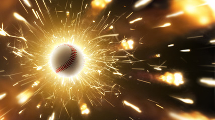 Baseball. Baseball ball. Baseball background with fiery sparks in action