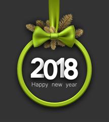 Green 2018 New Year card.