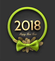 Green round 2018 New Year background.