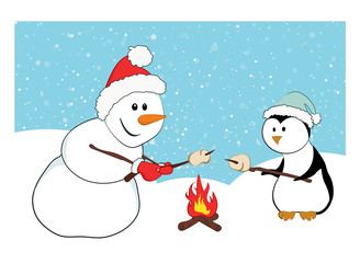 A snowman and a penguin roasting marshmallows. Cartoon characters with a snow background. A winter holidays concept.
