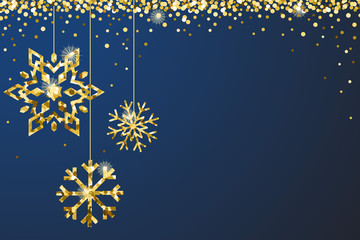 Gold Blue Sparkle Ornaments Background Border Vector 1