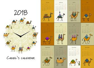 Funny turtles, calendar 2018 design