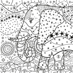 Elephant. Square mandala. Hand drawn circle zendala with abstract patterns on isolation background. Design for spiritual relaxation for adults. Black and white illustration for coloring.
