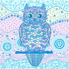 Owl. Mandala. Eastern pattern. Hand drawn mandala with abstract patterns on isolation background. Design for spiritual relaxation for adults. Art creative. Printing on t-shirts, posters and other