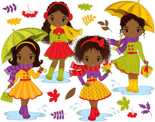 Vector Set with Cute Little African American Girls and Autumn Elements