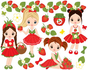 Vector set with Cute Little Girls and Strawberries