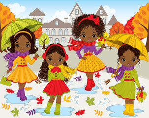 Vector Set with Cute Little African American Girls and Autumn Landscape  on Background