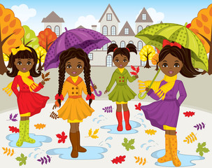 Vector Set with Young Beautiful African American Girls and Autumn Landscape on Background