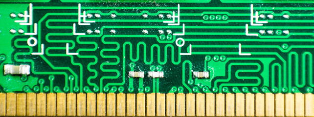 close up of a computer RAM memory circuit patterns