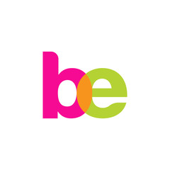 Initial letter be, overlapping transparent lowercase logo, modern magenta orange green colors
