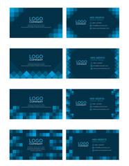 set of modern business name card template, dark blue color