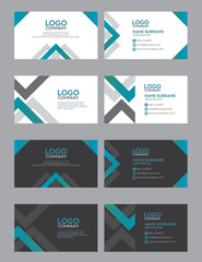 set of modern business name card template, blue green color