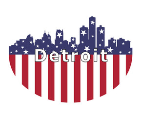Detroit City And USA Flag