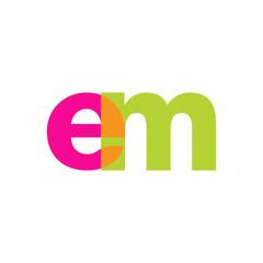Initial letter em, overlapping transparent lowercase logo, modern magenta orange green colors