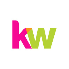 Initial letter kw, overlapping transparent lowercase logo, modern magenta orange green colors