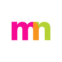 Initial letter mn, overlapping transparent lowercase logo, modern magenta orange green colors