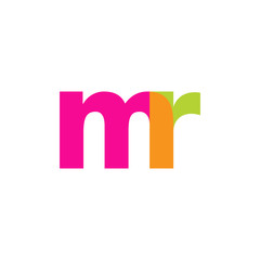 Initial letter mr, overlapping transparent lowercase logo, modern magenta orange green colors