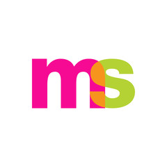 Initial letter ms, overlapping transparent lowercase logo, modern magenta orange green colors