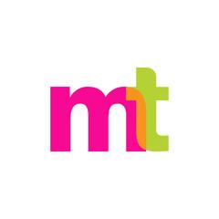 Initial letter mt, overlapping transparent lowercase logo, modern magenta orange green colors