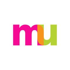 Initial letter mu, overlapping transparent lowercase logo, modern magenta orange green colors
