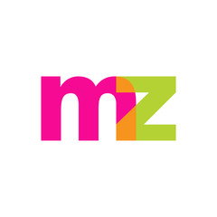 Initial letter mz, overlapping transparent lowercase logo, modern magenta orange green colors