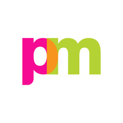 Initial letter pm, overlapping transparent lowercase logo, modern magenta orange green colors