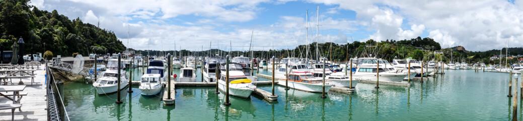 Panorama of boats at Tutukaka Marina, Northland, North Island, New Zealand, NZ