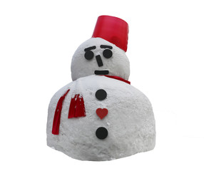 Christmas decoration -Real big snowman with red scarf and red hat isolated on white background with clipping path.
