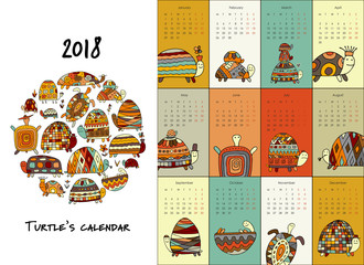 Funny turtles, calendar 2018 design