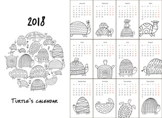 Funny turtles, calendar 2018 design for coloring