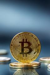 Bitcoin. Golden and silver bitcoins - virtual cryptocurrency