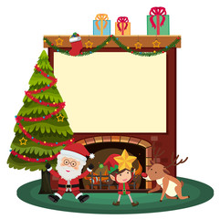 Border template with santa and elf by the fireplace