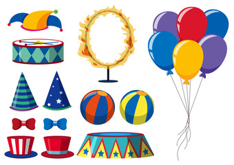 Circus elements on white background