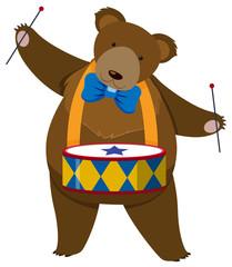 Brown bear playing drum