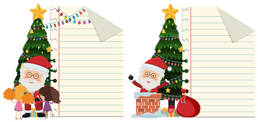 Two paper templates with santa on christmas