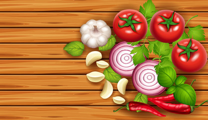Background template with fresh vegetables