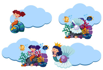Border template with beautiful mermaids underwater