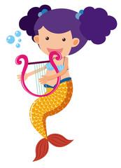 Cute mermaid playing harp