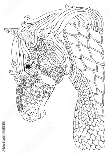 Horse Hand Drawn Picture Sketch For Anti Stress Adult Coloring Book In Zen