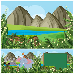 Background scenes with mountain and animals
