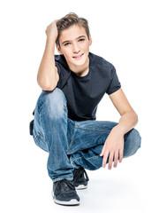 Photo of adorable teenage young happy boy