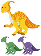 Three parasaurolophus in different colors