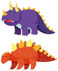 Two types of dinosaur on white background